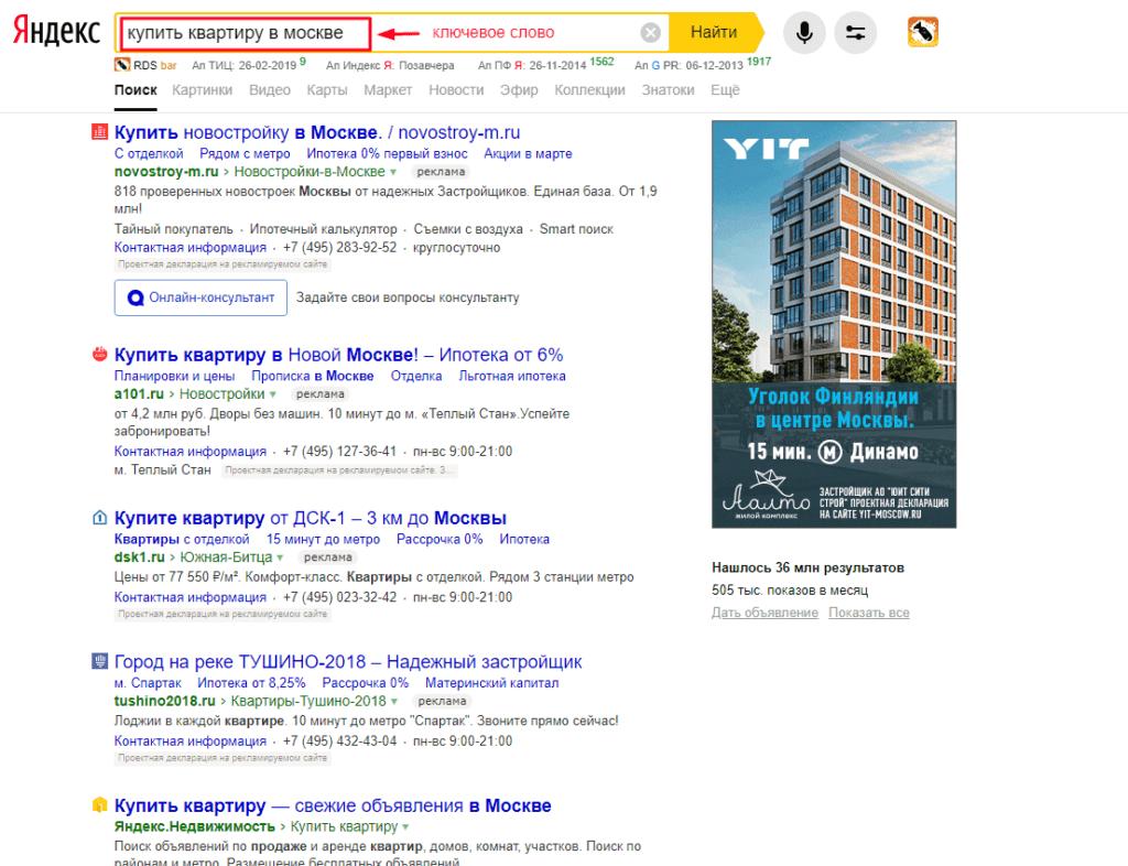 Рисунок 1. Пример ключевой фразы в поисковой системе Яндекс.