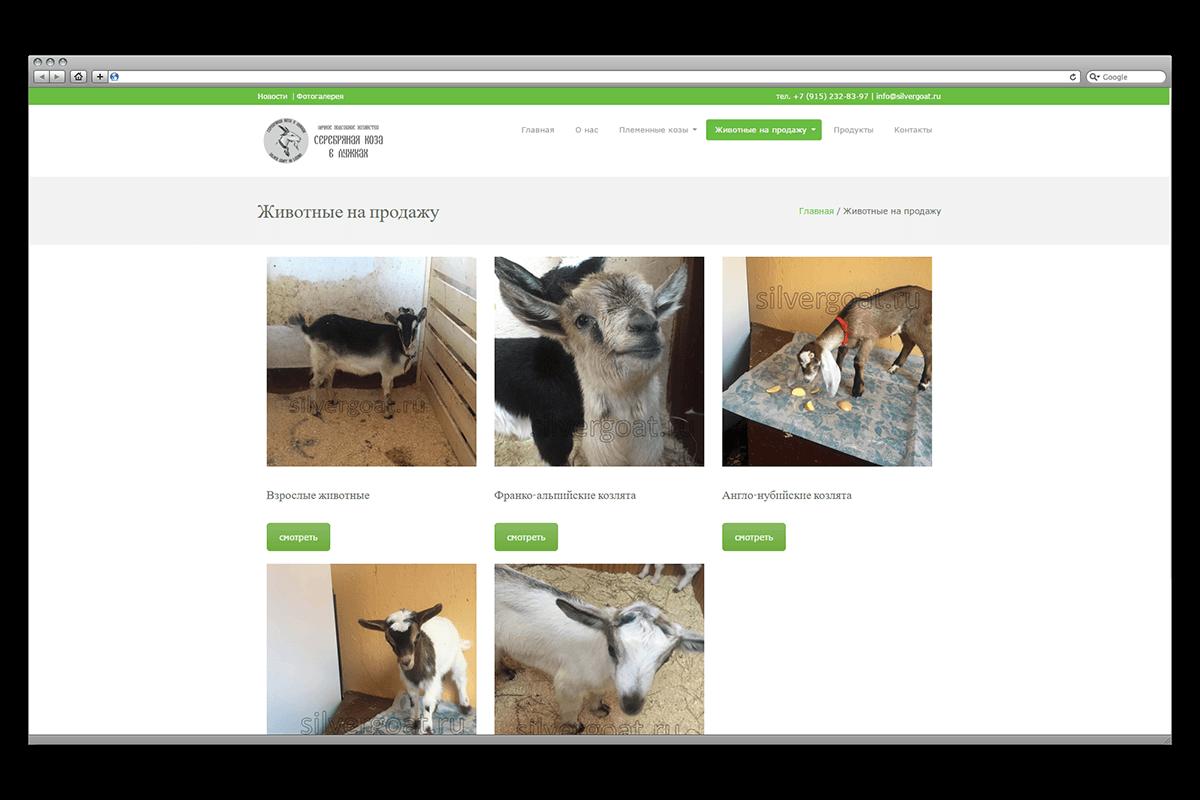 Сайт-каталог по продаже козлят